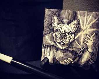 "Original 4"" x 4"" pen and ink crosshatch drawing: 'Poof!' (French bulldog and magic)"