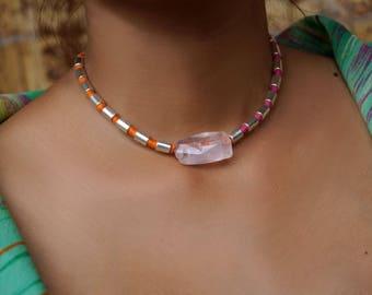 Minimalist Rose Quartz Necklace, Pink Orange Choker, Stone Collar, Pink Orange Necklace