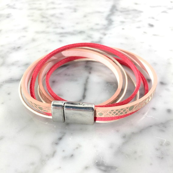 Leather, magnetic, magnet, bracelet, salmon, pink, white, choker necklace, magnet, les perles rares