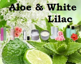 Aloe and White Lilac - Scented Body Products & Candles - Shower Gel Body Spray Body Mist Body Lotion, Body Powder, Perfume Oil, Scented Soap