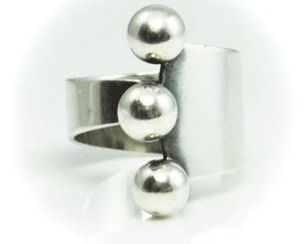 Beautiful Sterling Silver 3 Ball Curl Expandable Ring 22mm Size 8 Handcrafted