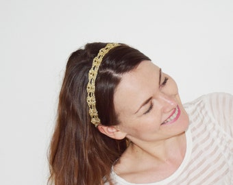 Gold Headband Adult Size, Gold Wedding Headband, Crochet Headband, Flower Girl Headband, Wedding Head Piece, Womens Headband, GOLD & SILVER