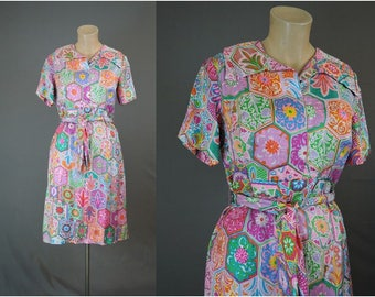 Vintage 1960s Silk Dress 36 bust, 30 waist, Bright Print by Shannon Rodgers for Jerry Silverman,