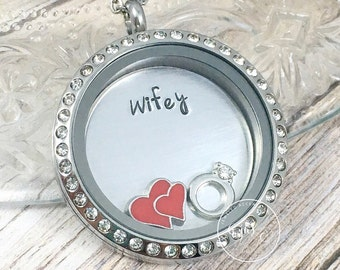 Wifey Necklace, Personalized Wife Locket, Wifey Jewelry, Bridal Shower Gift, Hand Stamped Jewelry, Wedding Charm Locket, Gift for the Bride