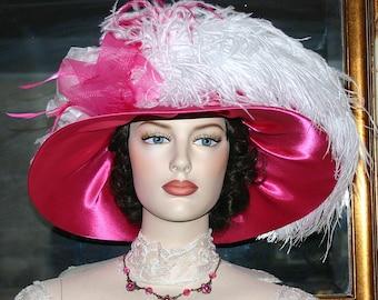 Edwardian Hat, Downton Abbey Hat, Kentucky Derby Hat, Ascot Hat, Titanic Hat, Church Hat, Royal Wedding Hat, Del Mar Hat Mademoiselle Monet