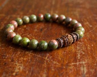 Prayer Beads, Unisex Size, Unakite Rudraksha and Copper, Wrist Mala, Meditation, Mantra Bracelet,