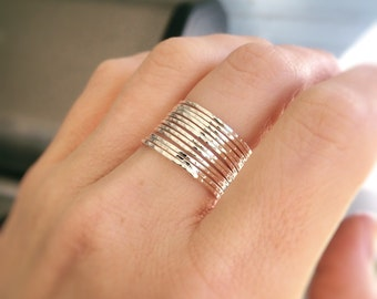 12 Super Skinny Stacking Rings Set,Notched Textured Ring Set,Ring Set,Textured Rings,Boho Stacking Rings,Minimalist,Modern,Skinny Ring,Gift