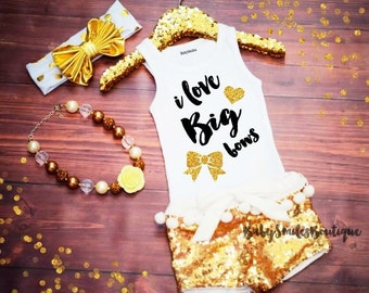 I love Big Bows Gold Glitter Tank Top Baby Girl Clothes Girl Shirt Baby Shower Gift Gold Shirt Girl Tank Top Hipster Baby Gold Bow Shirt 185