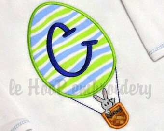Easter Egg Hot Air Balloon Machine Applique Embroidery design 3 sizes for Monogram Spring Bunny Rabbit