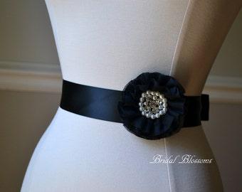 AMANDA Flower Sash   Chiffon Pearl Rhinestone Dress Sash   Bridal Belt   Ribbon Sash   Bridesmaids   Wedding   Classic Black   Child Kid