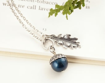 Mother Gift - Silver Acorn Pendant - Teal Blue Pearl Acorn Necklace - Silver Acorn Charm Necklace - Woodland Wedding Jewelry - Gift For Her