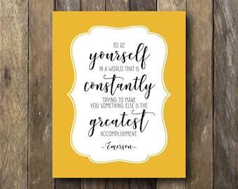 Inspirational Quote Print - Digital Download Art - Yellow Wall Decor - Printable Wall Art - Inspirational Quote - Yellow Wall Art - Emerson