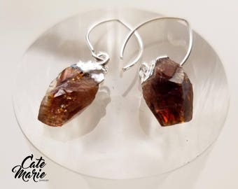 Sterling Silver Plated Raw Citrine Point Earrings