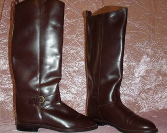 Leather Riding Boots Brown Women's Vintage Extra Tall Knee High Low Heel Made in Brazil Boho Equestrian Gypsy Stevie Nicks Festival ~ 7 7M