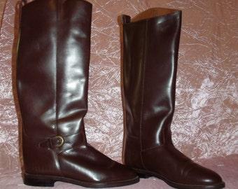 Bottes d'équitation en cuir brun Vintage Extra haute de genou faible talon féminines Made in Brésil Boho Equestrian Festival de Stevie Nicks gitan ~ 7 M 7