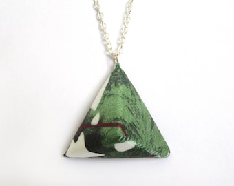 Triangle Necklace – Green and White Tropical Print - Handmade - Geometric - Silver Plated
