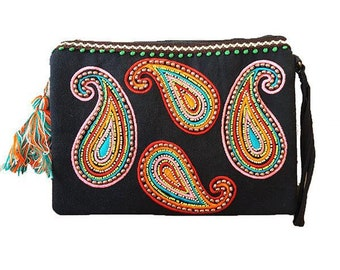 Black Indian Casmire Embroidered bag