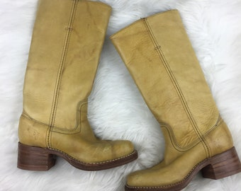 Women's Vintage Frye Campus Boots 14L Banana Leather 5.5 Medium
