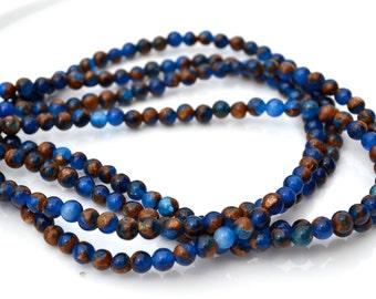 Royal Blue Impression Jasper 4mm Round Beads  Full 15 inch strand