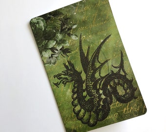 Dragon Magic Floral Green/Black/Gold Mixed Media - Travelers Notebook Laminated Dashboard - CHOOSE B6 or POCKET size