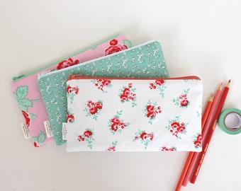 Zipper Pouch, Pencil Pouch, Pencil Case, Mint Pink Red Floral, College, Teachers, Kids, School Supplies, Teens, Women, Organize