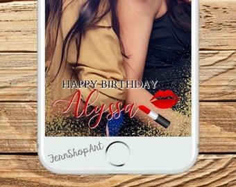 Custom Snapchat Birthday Filter, Custom Snapchat Filter, Snapchat Geofilter, Birthday Filter, Custom Geofilter, lipstick Snapchat Geofilter,