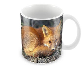 Red Fox Ceramic Coffee Mug    Free Personalisation