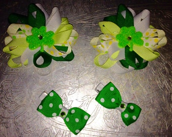 Lot of 4 LOOPY FLOWER and MINI  St. Patrick's Day Hair ClipS With Special Center Accent