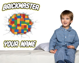 Brickmaster Custom Name Lego Style Wall Decal - Kids Bedroom Lego Room Decor - Handmade and designed Not associated with Lego Brand
