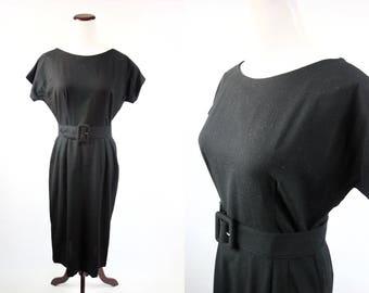 1950's Black Wool 'Carole King' Short-sleeve Belted Dress