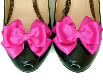 Shoe Clips Bridal Shoe Clips Fuschia Pink Satin Bow Wedding Shoe Clips Many Colors by Seriously Sassyx