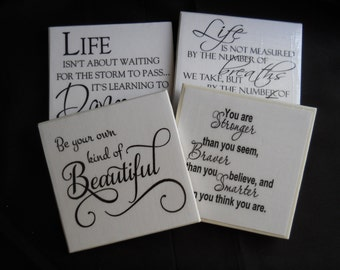 Inspirational Coasters ~ Tile Coasters ~ Black and White ~ Home Decor ~ Inspirational Quotes ~ Drink Coasters ~ Special Occasion Gift