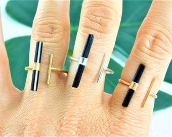 Sterling Silver Tourmaline Ring, Black Tourmaline Ring, Raw Tourmaline Ring, Sterling Silver Raw Tourmaline Ring, Raw Black Tourmaline Ring