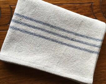 Grain Sack Kitchen Towel Blue Stripes