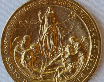 Holy Year of Redemption - Italian Vintage Gold Filled Medal Pendant Charm by Fisanotti - Jesus Christ - Torino - Ostensione Sindone