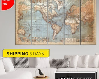 Big wall map etsy vintage world map map of the world classic world map big map canvas gumiabroncs Choice Image