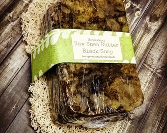 Raw Shea Butter Black Soap w/ Soap Saver! Vegan Friendly as well! NOT for those with Eczema, Psoriasis or EXTREMELY Sensitive Skin!