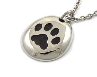 Cat Track Necklace, Handmade Animal  Jewelry in Pewter