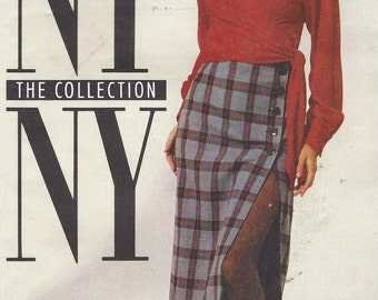90s NY NY the Collection Womens Wrap Blouse, Top, Lined Skirt and Leggings McCalls Sewing Pattern 6233 Size 16 Bust 38 FF Sewing Patterns