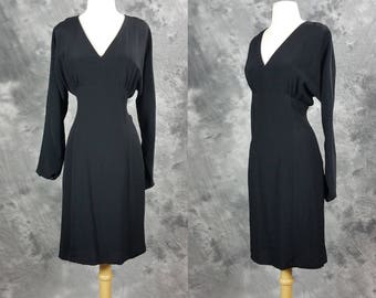 Black rayon V neck dress, long sleeve empire waist, elegant dress, Cachet by Bari Protoas, medium