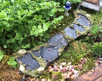 Miniature Stone Moss Path, Walkway, Fairy Garden Accessory, Garden Decor, Miniature Gardening