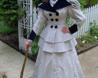 FOR ORDERS ONLY - Custom Made to Fit You - 1890s Edwardian Walking Traveling Suit - 1894 Victorian Dress -Gibson Girl Skirt Jacket