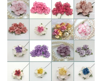 50 Variations Listing Mulberry Paper Flowers Baskets Scrapbooks Wedding Faux Cupcake Cards Dolls Crafts Roses V-R19