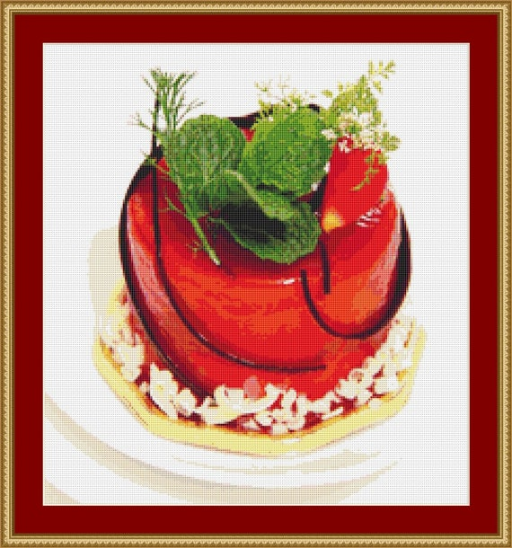 Rose Dessert Cross Stitch Pattern /Digital PDF Files /Instant downloadable