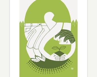 Plant // gardener, nature lover gift, giclée print, Miriam Martincic, MiriamDraws