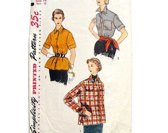 Vintage 1952 Simplicity Blouse & Overblouse Sewing Pattern #4081 - Size 14 Bust 32 - Cut and Complete