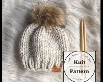 DIY KNITTING PATTERN // The Iroquois Beanie // Simple Slouch Beanie // Newborn - Adult Sizes // Chunky Super Bulky Knit Hat