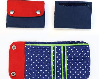 Flap wallet sewing pattern and tutorial, medium size wallet - instant download - p003