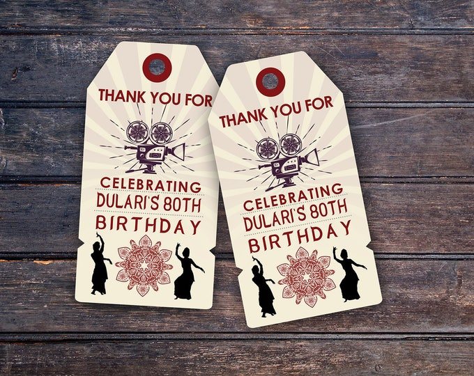 Luggage tag, favor tag, party favor, Bollywood- travel birthday party invitation- Moroccan birthday-ethnic, Indian