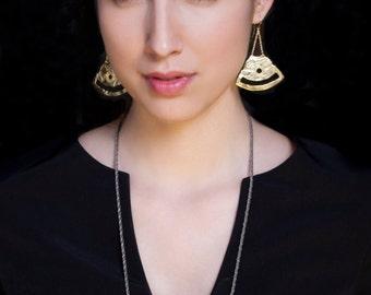 Gold dangle earrings, fan earrings, tribal earrings, statement earrings, textured earrings, large dangle earrings, large fan earrings